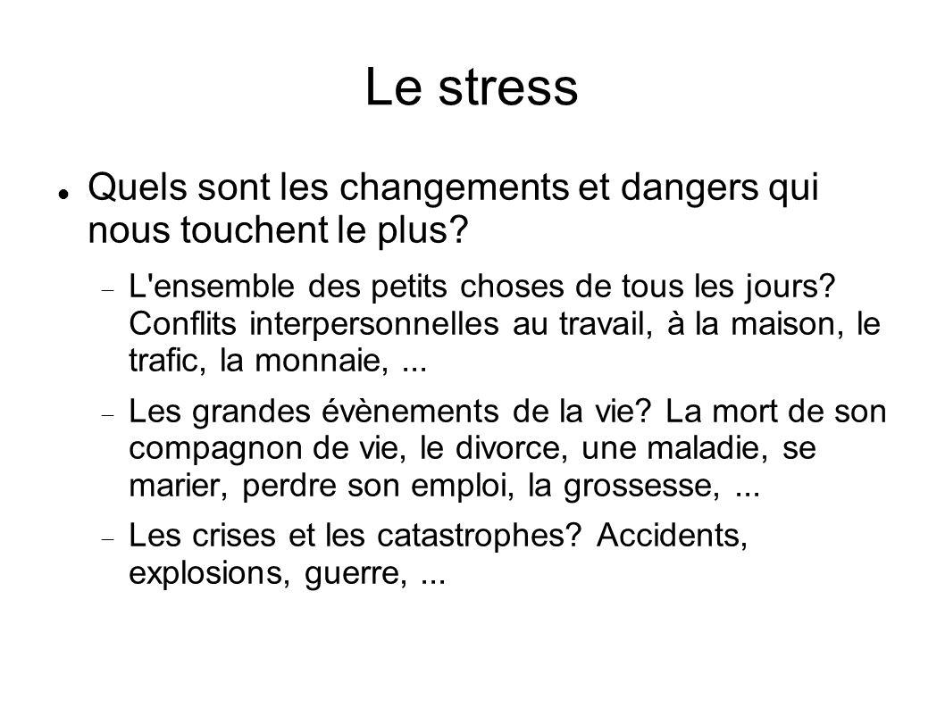 Le stress Quels sont les changements et dangers qui nous touchent le plus
