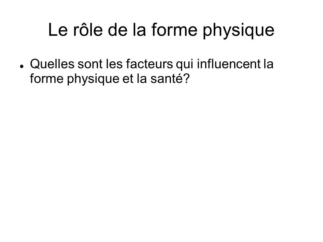 Le rôle de la forme physique
