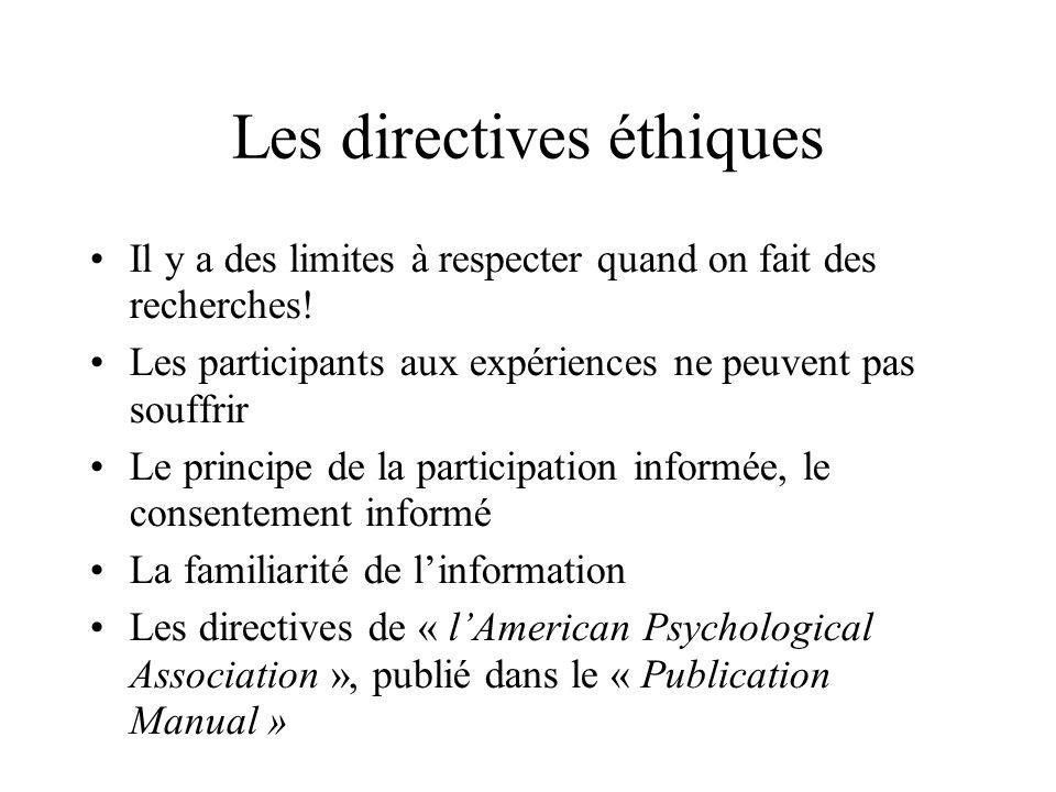 Les directives éthiques