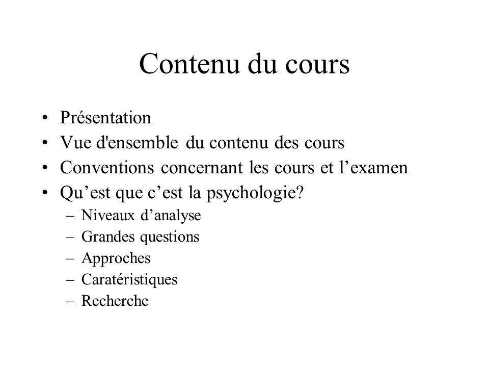 Contenu du cours Présentation Vue d ensemble du contenu des cours