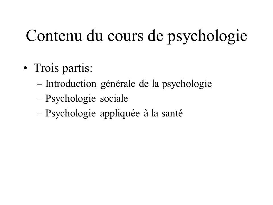 Contenu du cours de psychologie