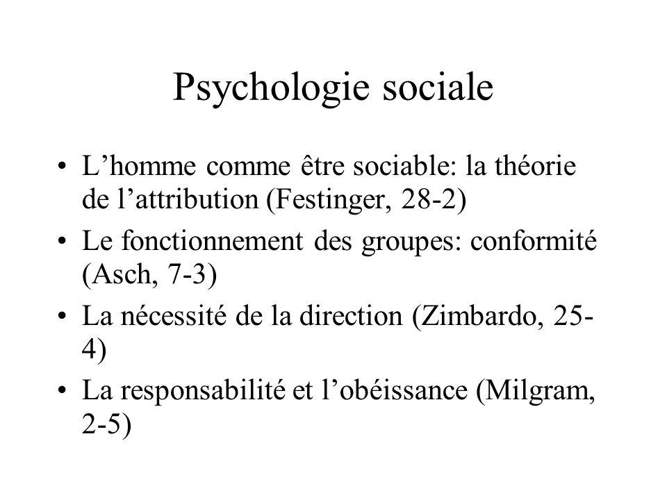 Psychologie sociale L'homme comme être sociable: la théorie de l'attribution (Festinger, 28-2)