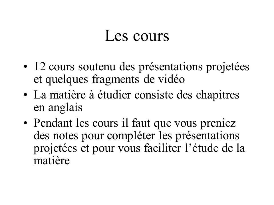 Les cours 12 cours soutenu des présentations projetées et quelques fragments de vidéo. La matière à étudier consiste des chapitres en anglais.