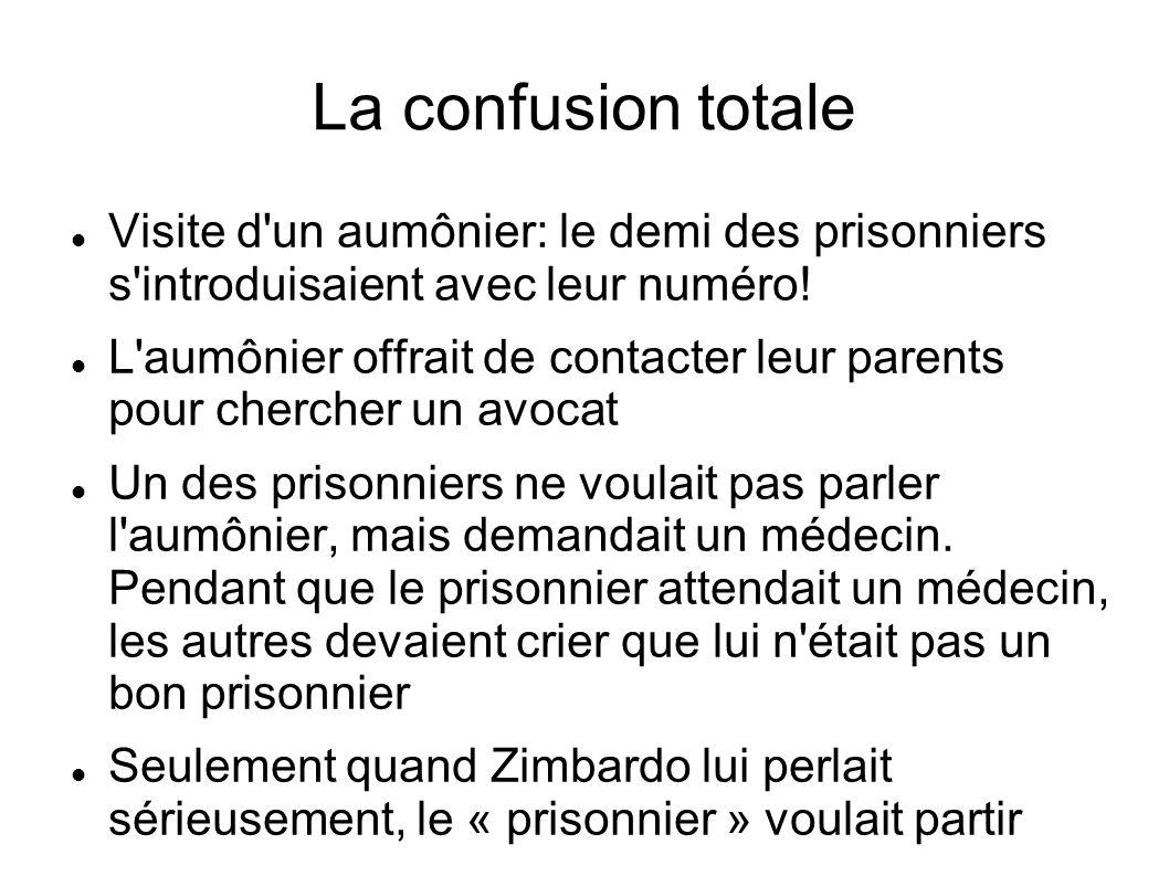 La confusion totale Visite d un aumônier: le demi des prisonniers s introduisaient avec leur numéro!