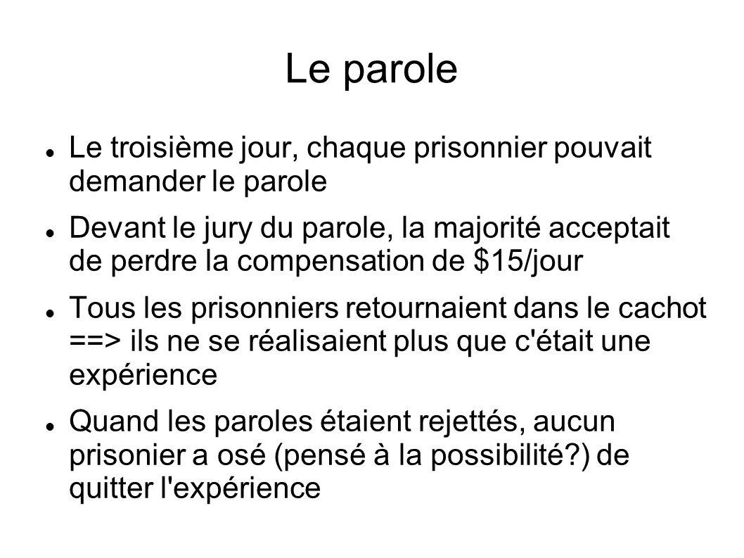 Le parole Le troisième jour, chaque prisonnier pouvait demander le parole.