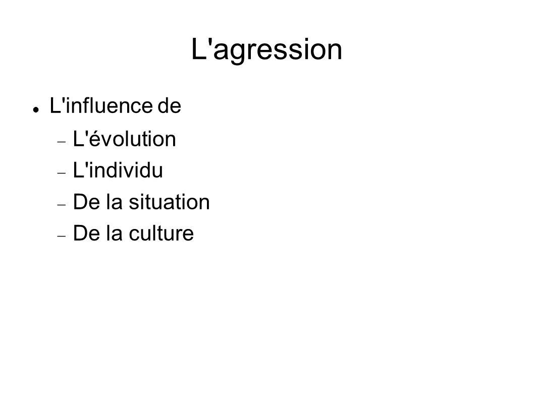 L agression L influence de L évolution L individu De la situation