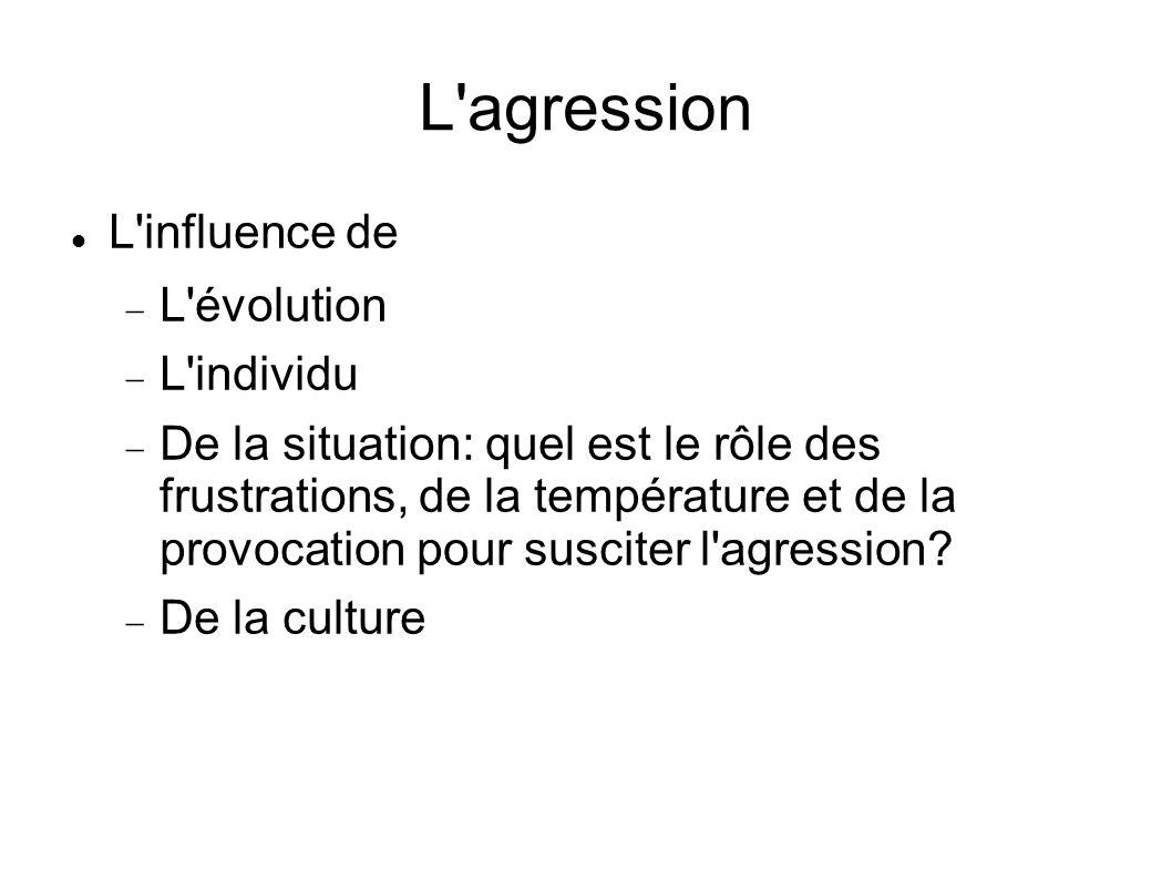 L agression L influence de L évolution L individu