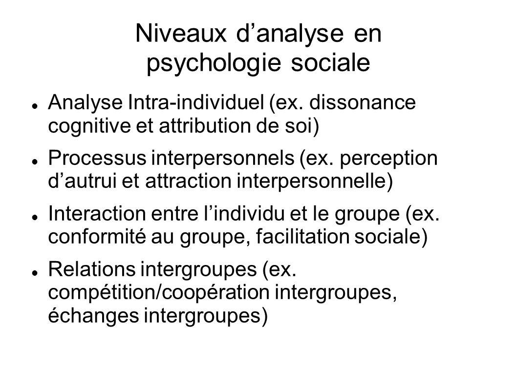 Niveaux d'analyse en psychologie sociale