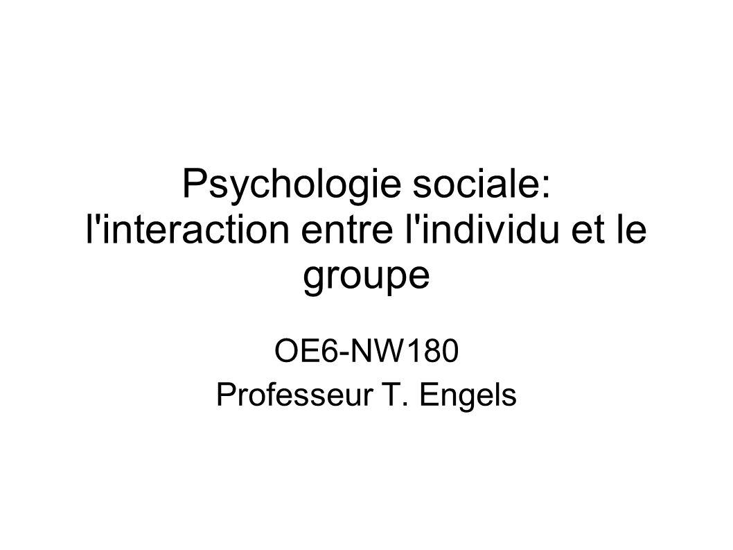 Psychologie sociale: l interaction entre l individu et le groupe