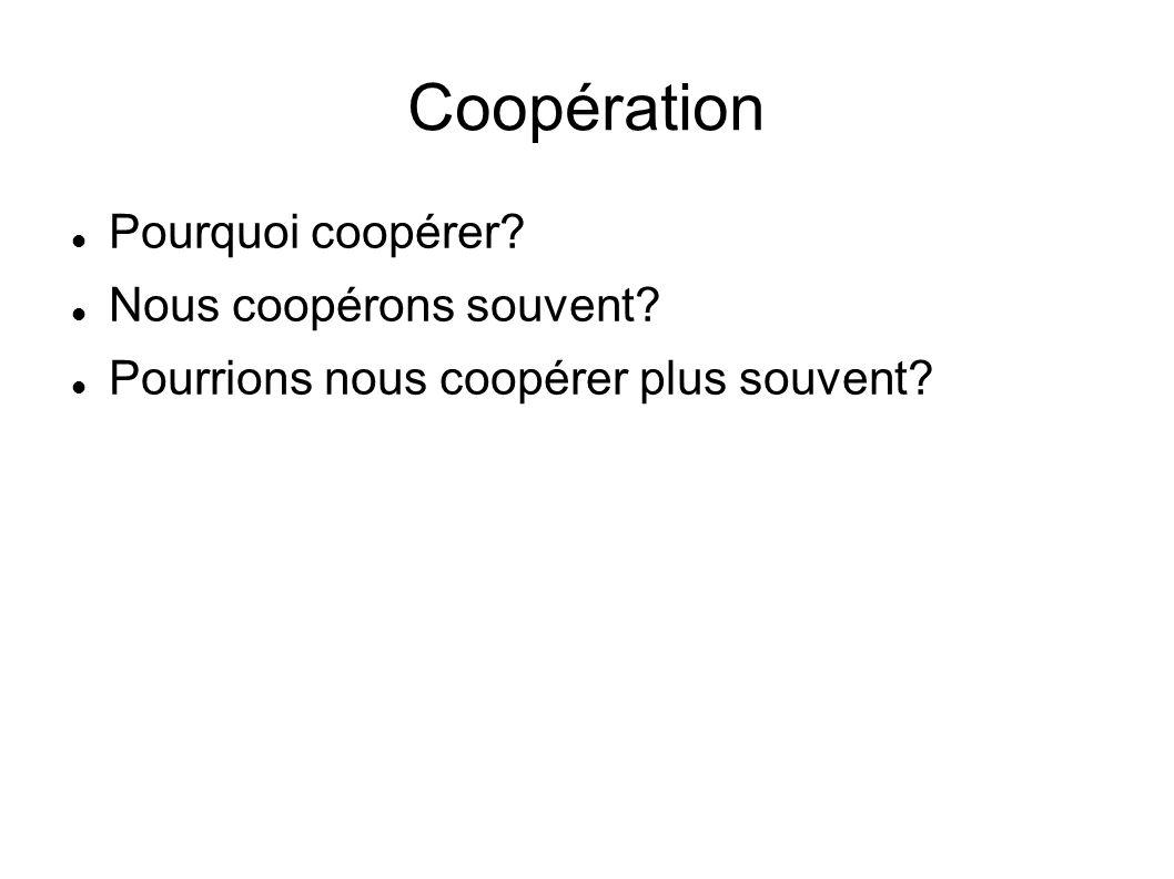 Coopération Pourquoi coopérer Nous coopérons souvent