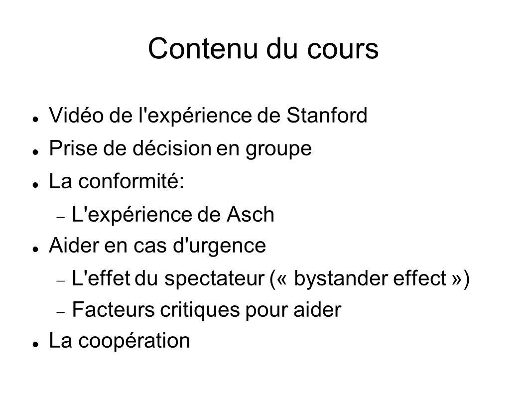 Contenu du cours Vidéo de l expérience de Stanford