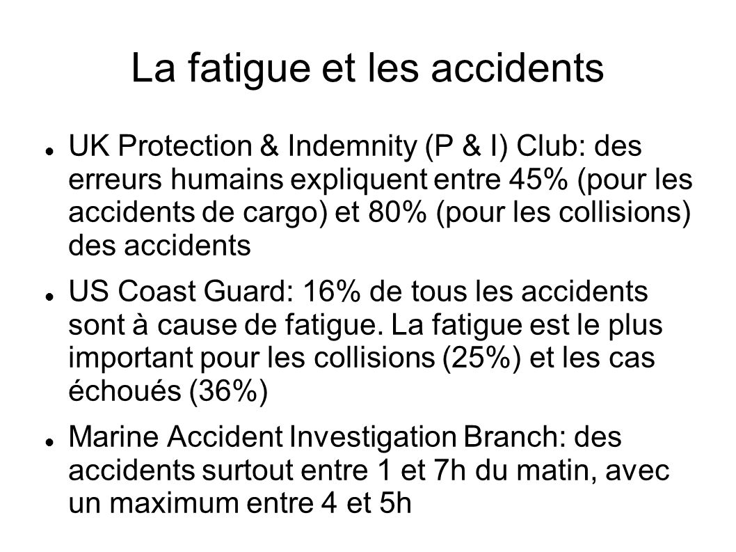 La fatigue et les accidents