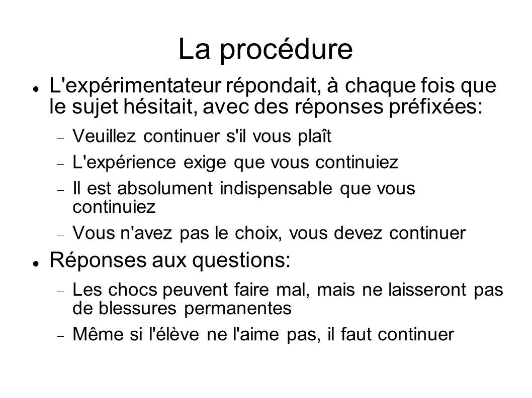 La procédure L expérimentateur répondait, à chaque fois que le sujet hésitait, avec des réponses préfixées: