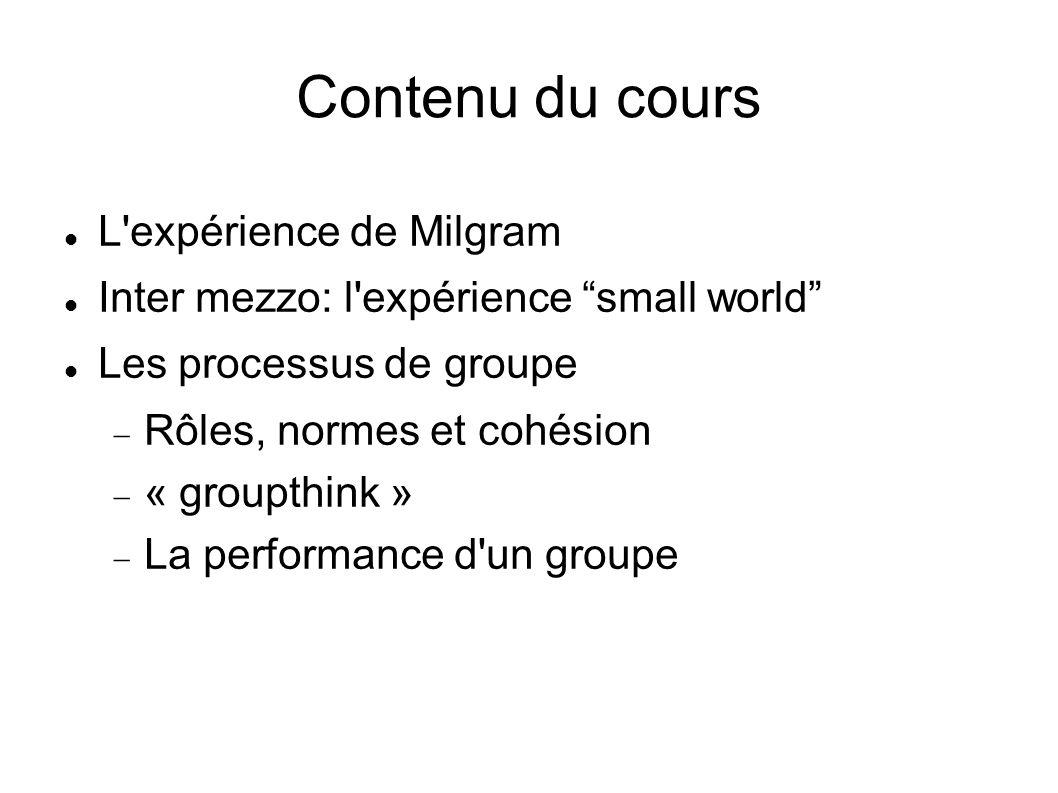 Contenu du cours L expérience de Milgram