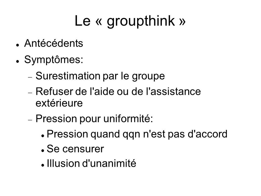 Le « groupthink » Antécédents Symptômes: Surestimation par le groupe