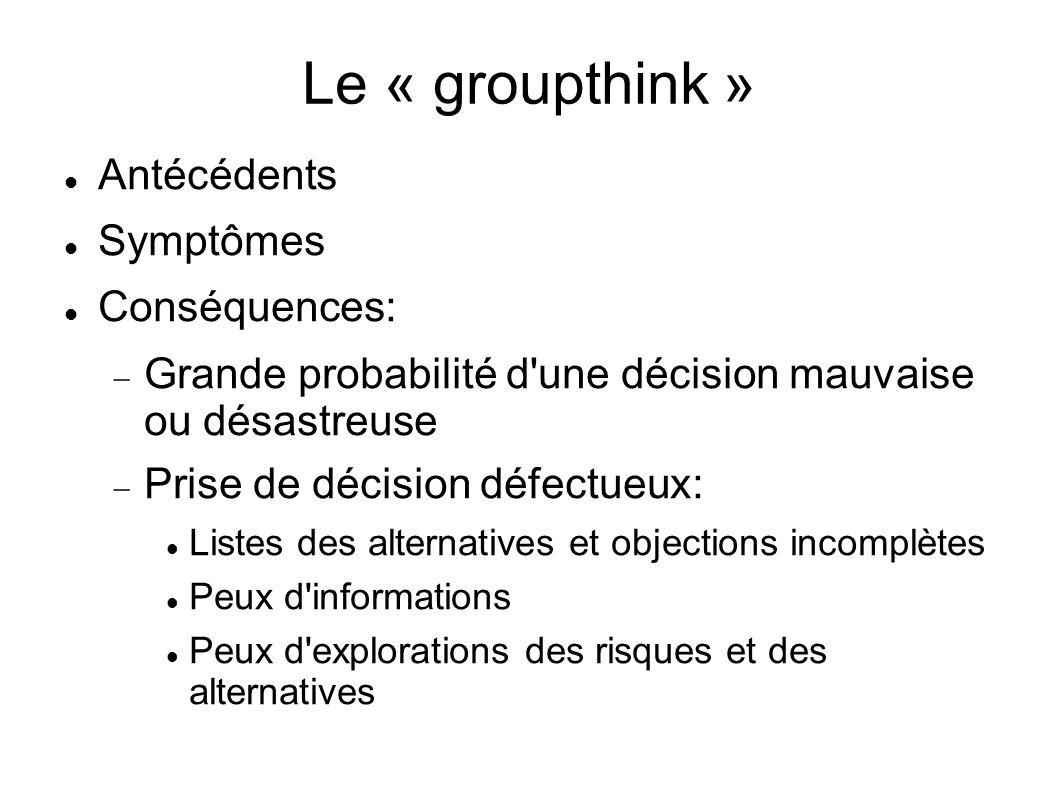Le « groupthink » Antécédents Symptômes Conséquences: