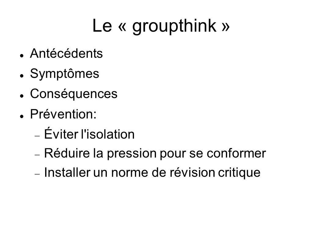 Le « groupthink » Antécédents Symptômes Conséquences Prévention: