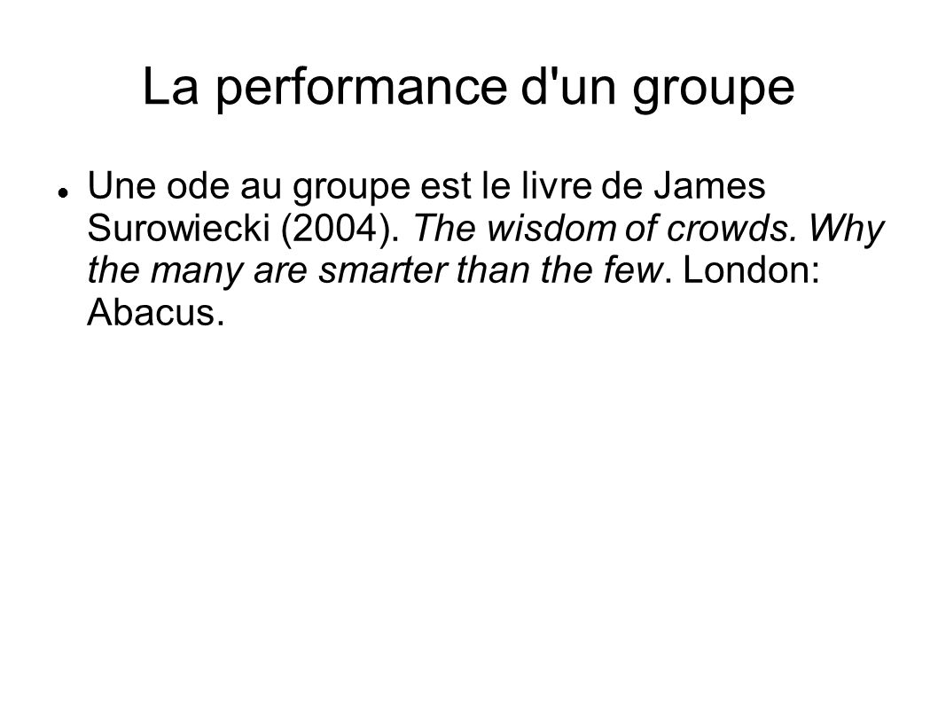La performance d un groupe