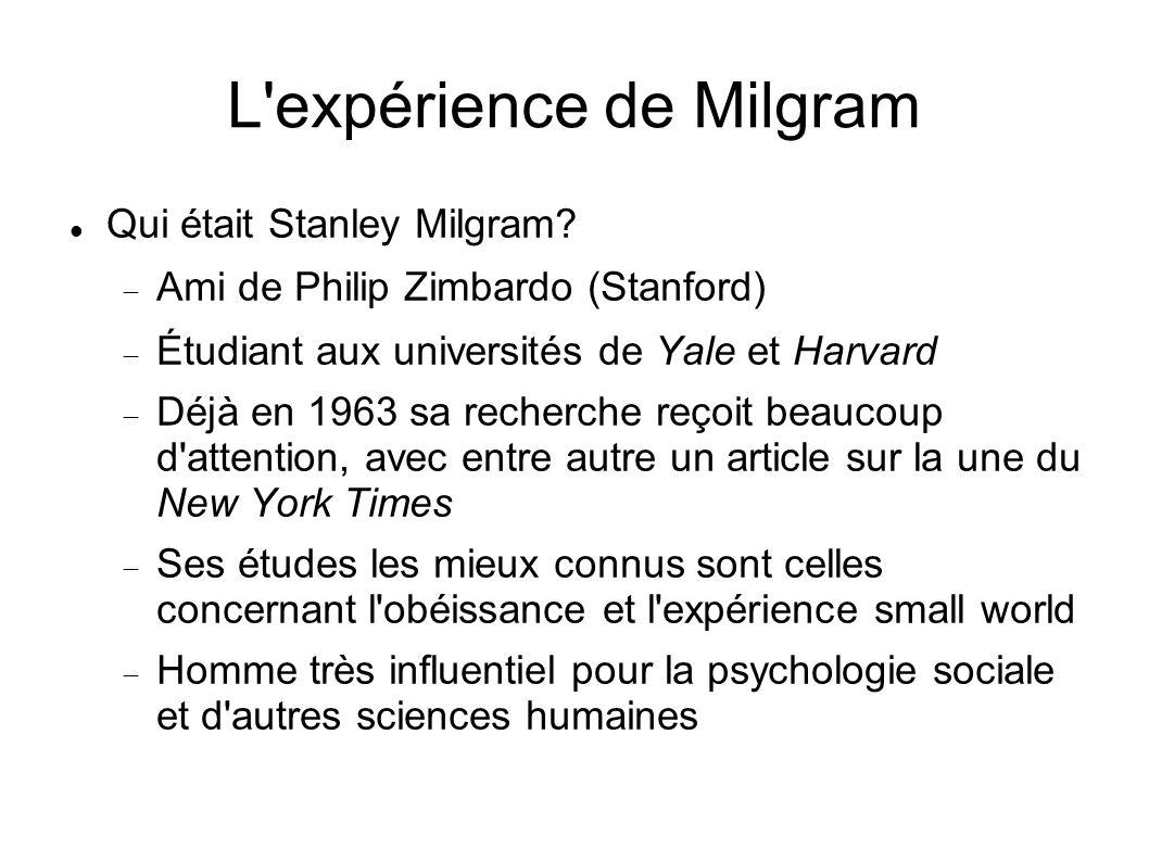 L expérience de Milgram