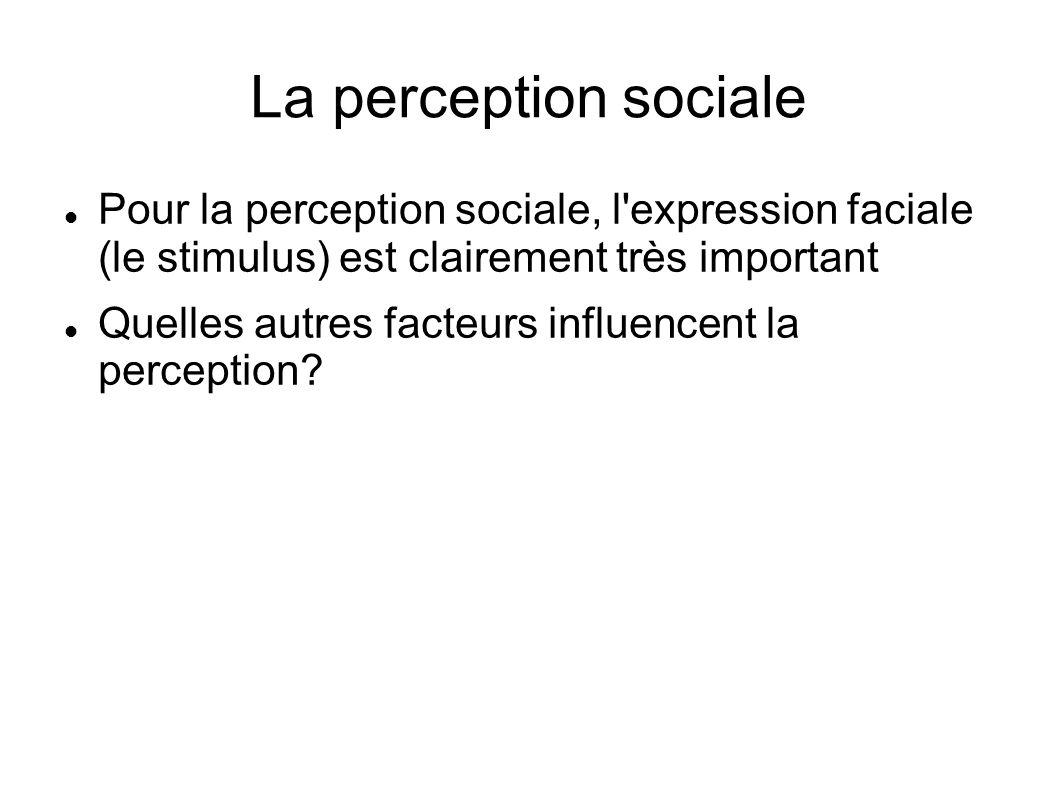 La perception sociale Pour la perception sociale, l expression faciale (le stimulus) est clairement très important.