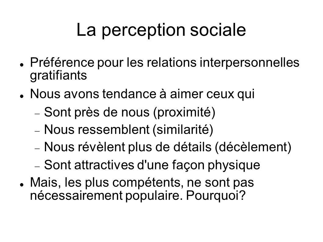La perception sociale Préférence pour les relations interpersonnelles gratifiants. Nous avons tendance à aimer ceux qui.