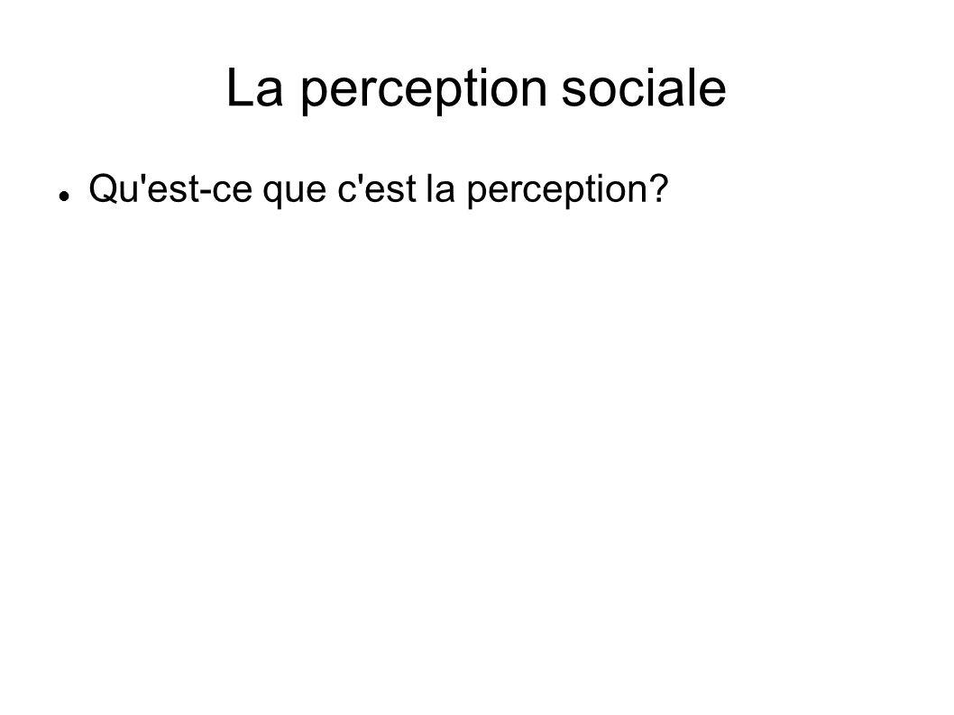 La perception sociale Qu est-ce que c est la perception