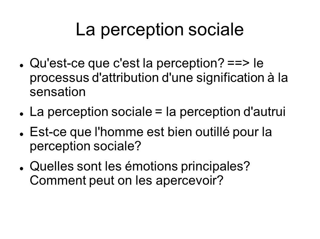 La perception sociale Qu est-ce que c est la perception ==> le processus d attribution d une signification à la sensation.