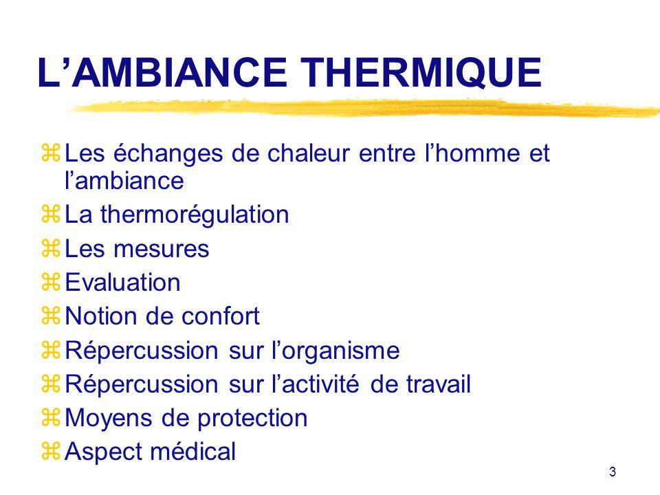 L'AMBIANCE THERMIQUE Les échanges de chaleur entre l'homme et l'ambiance. La thermorégulation. Les mesures.