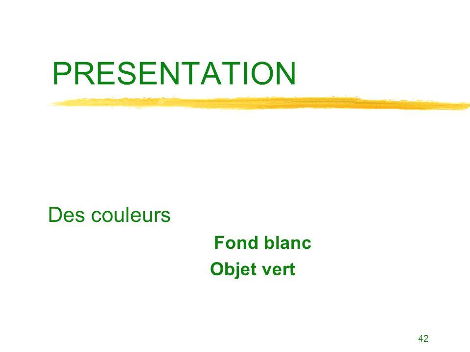 Des couleurs Fond blanc Objet vert