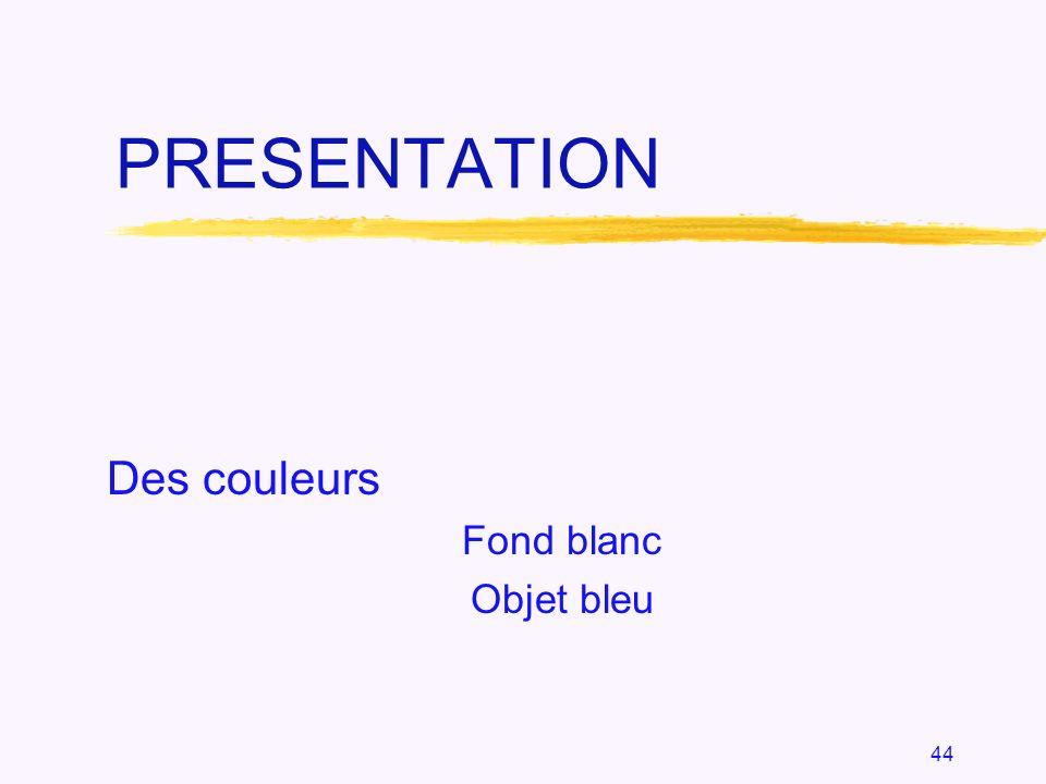 Des couleurs Fond blanc Objet bleu