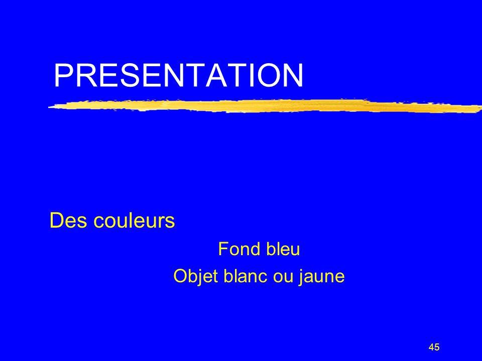 Des couleurs Fond bleu Objet blanc ou jaune
