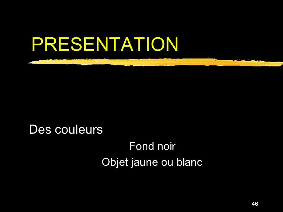 Des couleurs Fond noir Objet jaune ou blanc