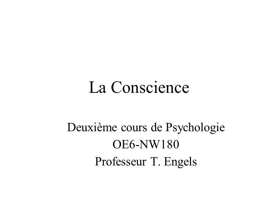 Deuxième cours de Psychologie OE6-NW180 Professeur T. Engels