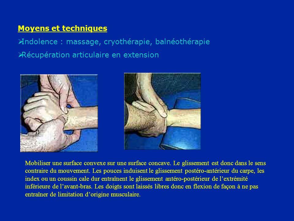 Indolence : massage, cryothérapie, balnéothérapie