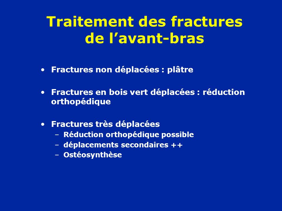 Traitement des fractures de l'avant-bras