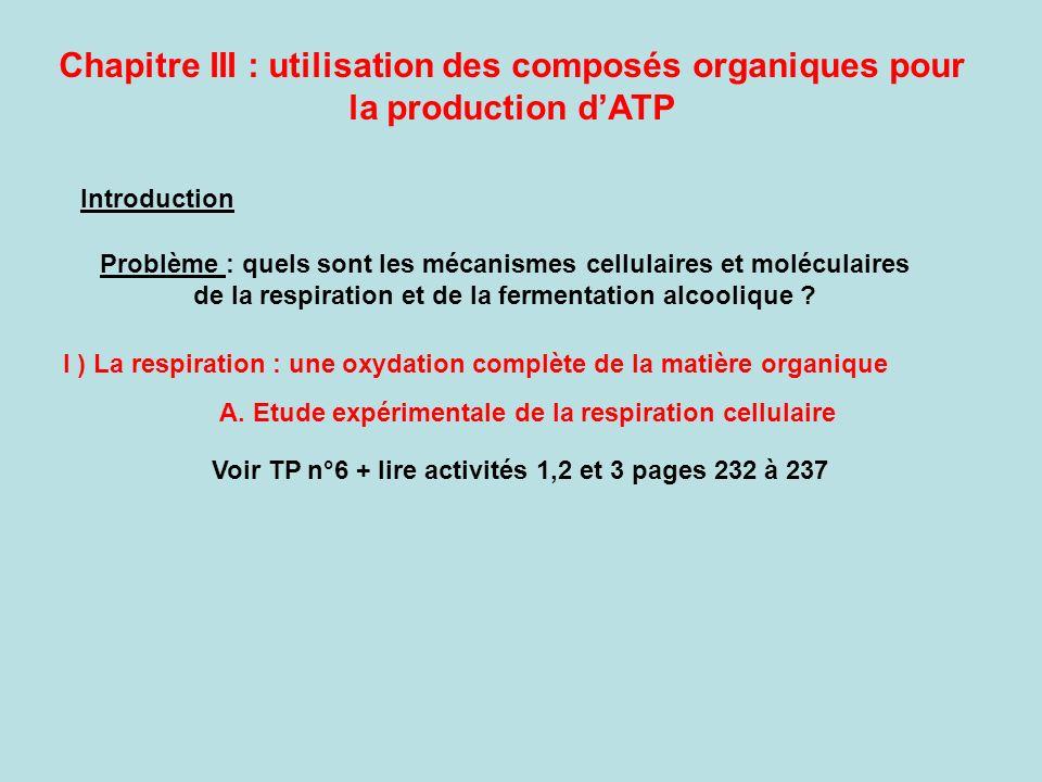 I ) La respiration : une oxydation complète de la matière organique