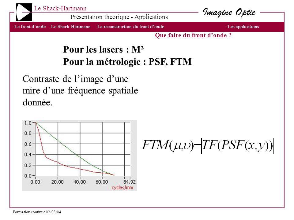 Pour la métrologie : PSF, FTM
