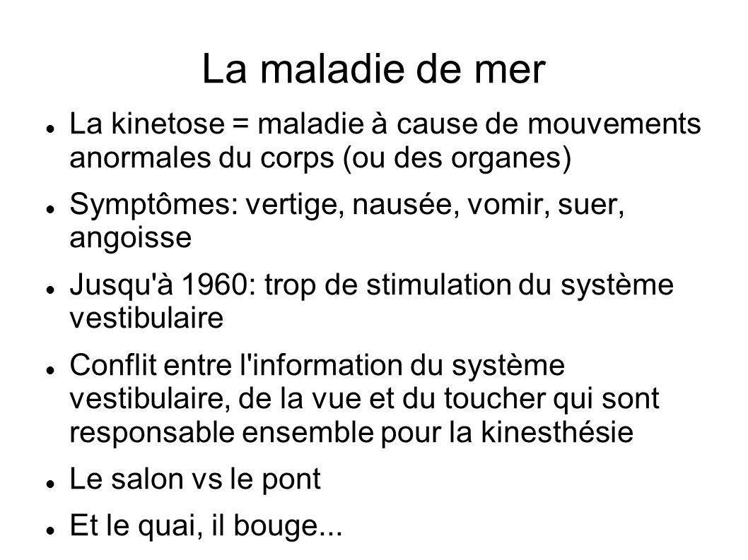 La maladie de mer La kinetose = maladie à cause de mouvements anormales du corps (ou des organes)