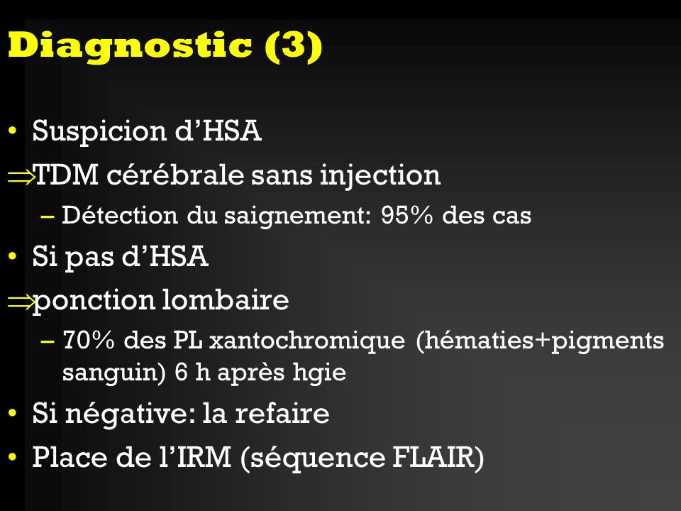 Diagnostic (3) Suspicion d'HSA TDM cérébrale sans injection