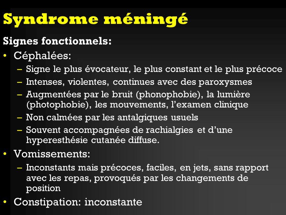 Syndrome méningé Signes fonctionnels: Céphalées: Vomissements: