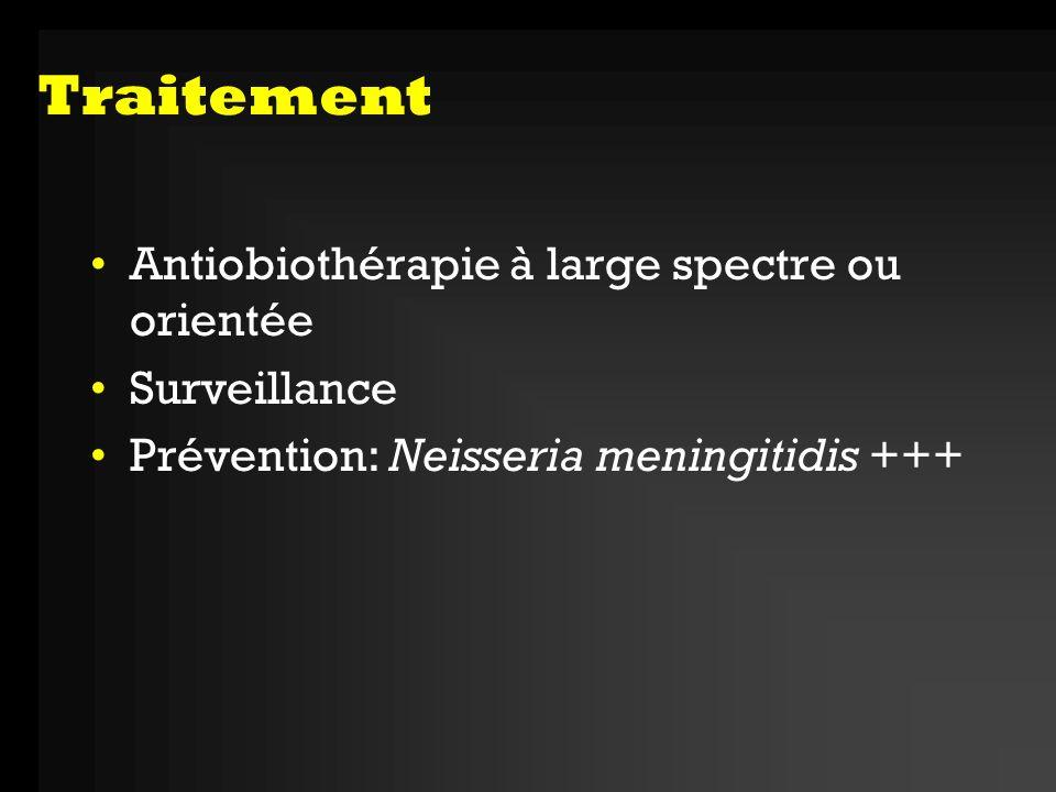 Traitement Antiobiothérapie à large spectre ou orientée Surveillance