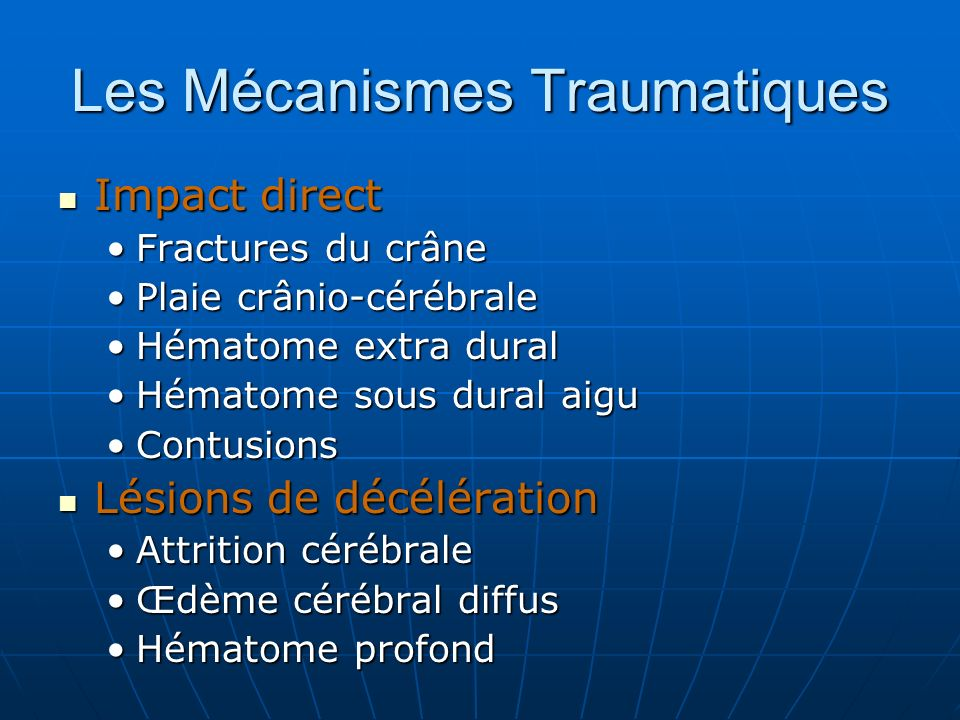 Les Mécanismes Traumatiques