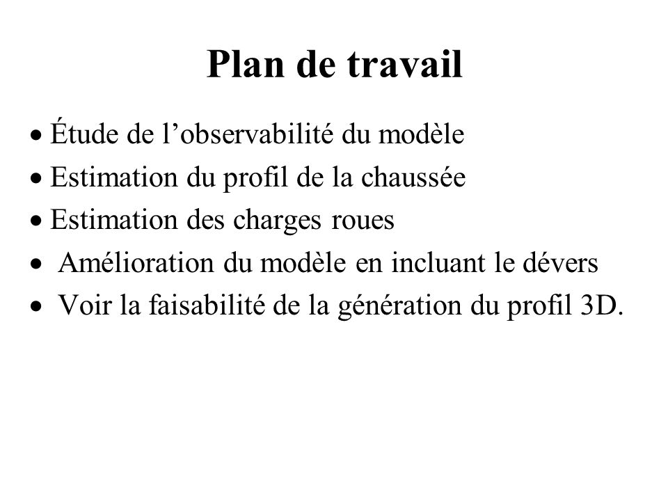 Plan de travail · Étude de l'observabilité du modèle