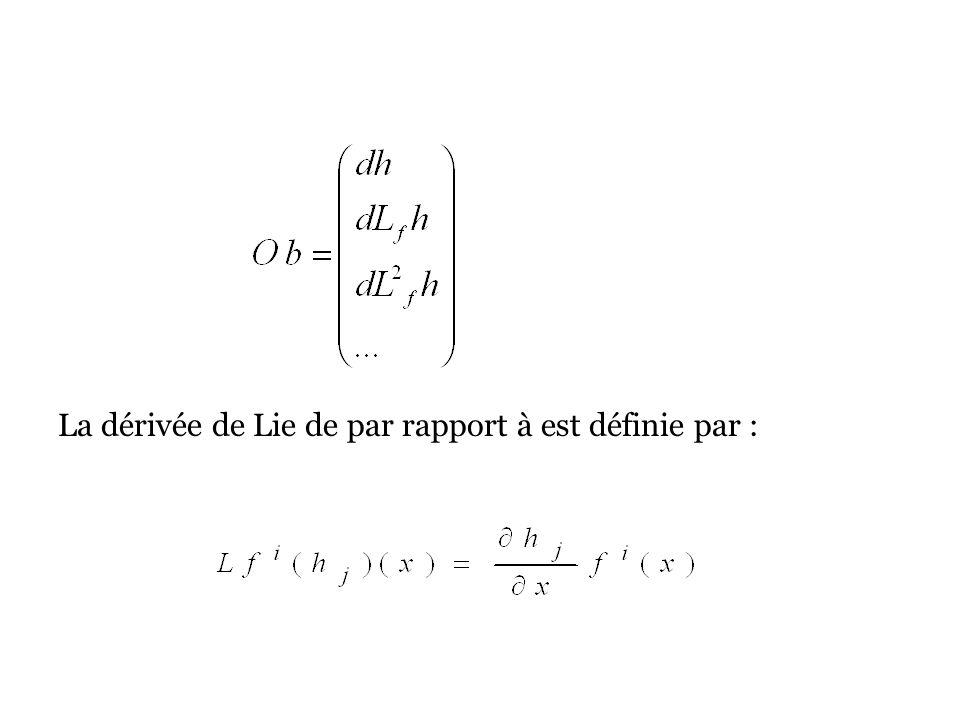 La dérivée de Lie de par rapport à est définie par :