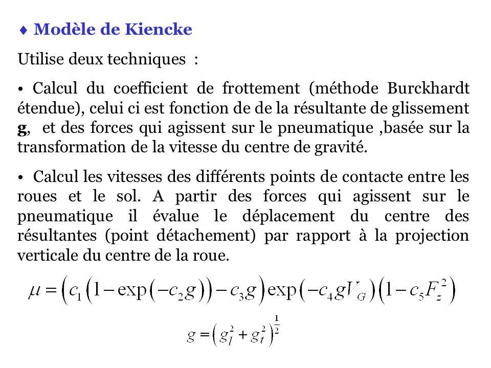  Modèle de Kiencke Utilise deux techniques :