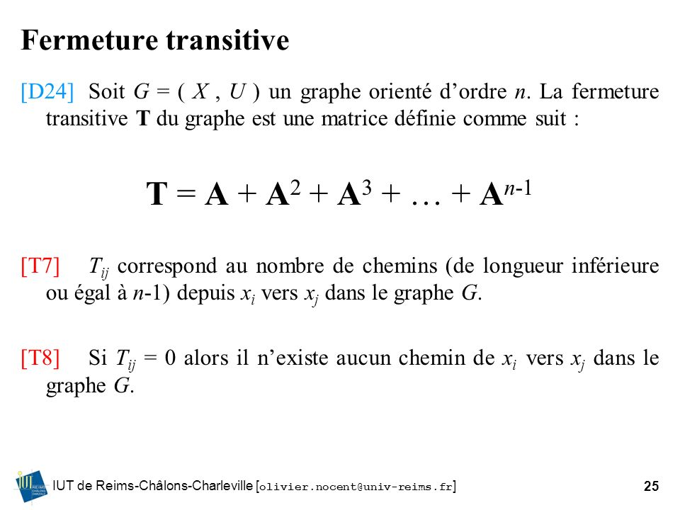 T = A + A2 + A3 + … + An-1 Fermeture transitive