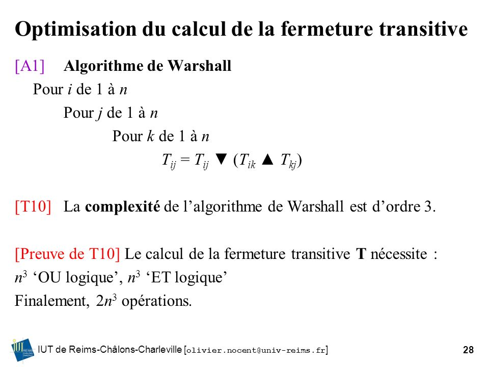 Optimisation du calcul de la fermeture transitive