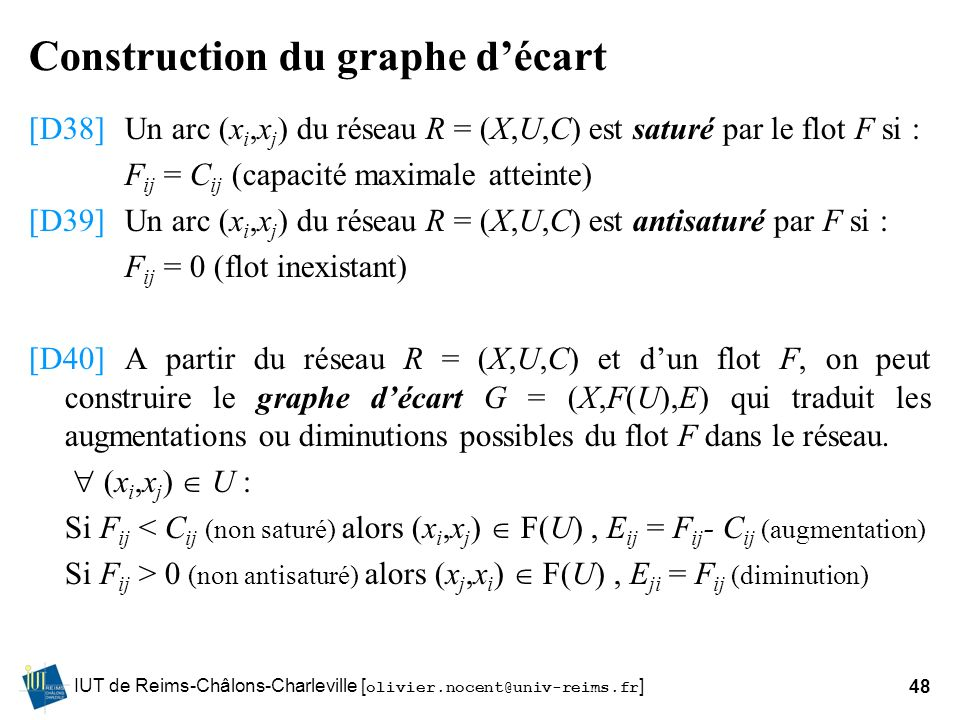 Construction du graphe d'écart