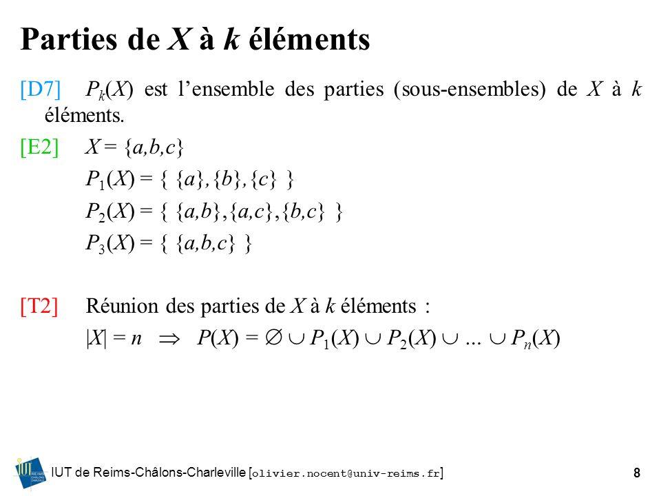 Parties de X à k éléments