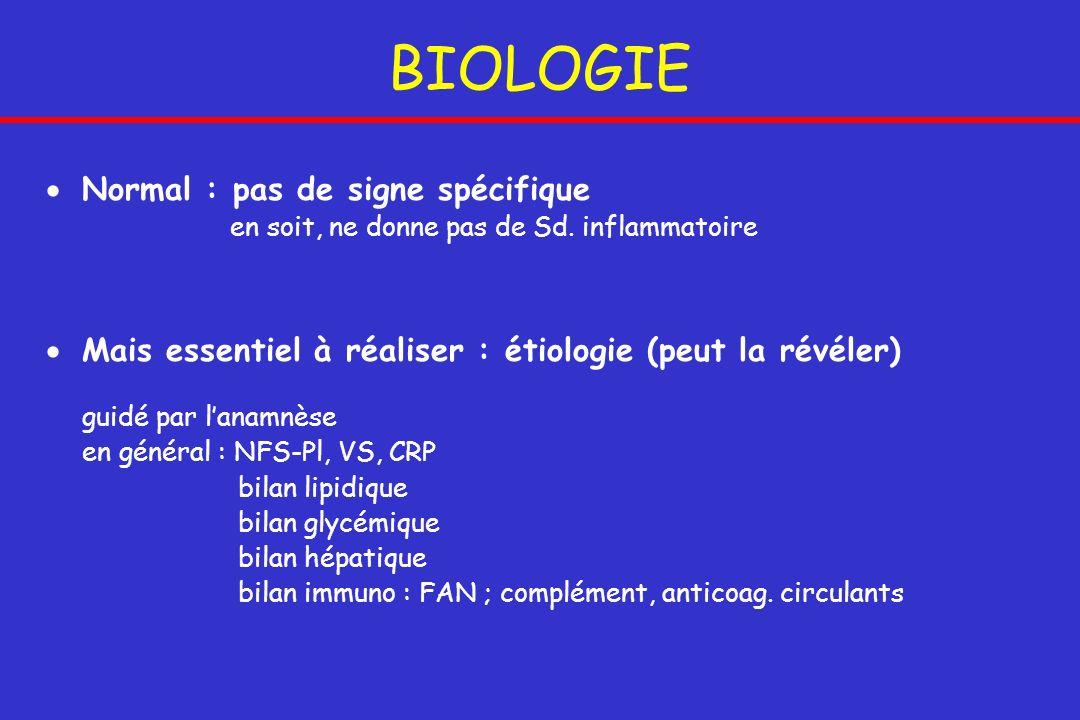 BIOLOGIE Normal : pas de signe spécifique